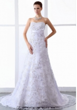 Appliques Wedding Dresses Sweep Train Strapless A-Line