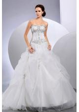 Pick Ups Organza Wedding Gown Dress Court Train