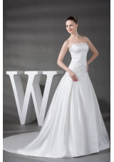 A-line Beading Satin Strapless Chapel Train Wedding Dress