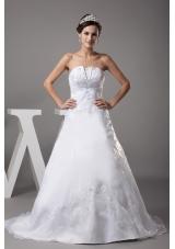 A-line Strapless Court Train Appliques Wedding Dress