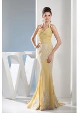 Appliques Mermaid Halter Gold Brush Train Prom Dress