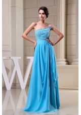 Baby Blue Empire Beading Strapless Chiffon Prom Dress