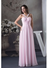 Beautiful Beading V-neck long Pink Column 2013 Prom Dress