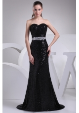 Black Sequin Beading Sweetheart Brush Train Prom Dress