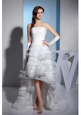 Lace and Ruffled Layers High-low Brush Train strapless Wedding Dress