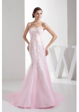 Mermaid Sweetheart Brush Train Appliques Baby pink Prom Dress