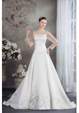Scoop Long Sleeves Embroidery satin Wedding Dress