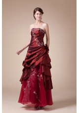 Wine Red Strapless Embroidery long A-line prom dress