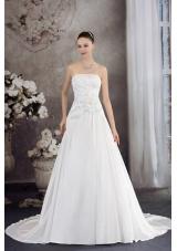 A-line Strapless Hand Made Flower Appliques Court Train Wedding Dress