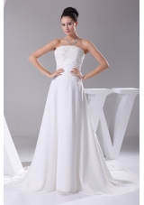 A-line Strapless Lace Court Train Wedding Dress