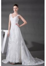 A-line Straps Lace Court Train Wedding Dress