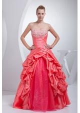 A-line Watermelon Red Pick-ups Appliques Quinceanera Dress