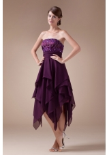 Appliques Empire Short Strapless Prom Dress For 2013
