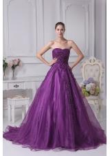 Appliques Sweetheart  A-Line Chapel Train Wedding Dress in Purple