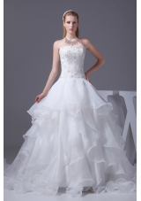 Appliques With Beading Strapless Ruffles A-line  Wedding Dress