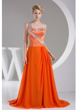 Beaded Decorate Shoulder Exclusive Long Empire Prom Dress