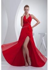 Beading and High Slit Red Halter Long Prom Dress
