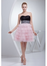 Beading and Ruffled Layers Sweetheart Mini-length  Prom Dress