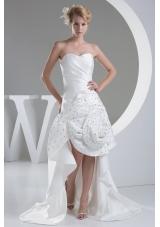 Beading Hand Made Flower Sweetheart High-low Wedding Dress