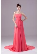 Beading Strapless Watteau Train Watermelon Prom Dress