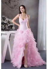 Beautiful Ruffles Halter Pink High-low Column  Prom Dress