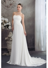 Empire Sweetheart Court Train Appliques Wedding Dress