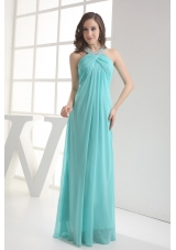 Halter Top Aqua Blue Empire Beading Prom Dress