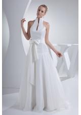 Halter Top Sash A-line Organza Wedding Dress