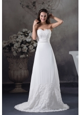 Lace Wedding Dress With Sweetheart A-line Brush Train