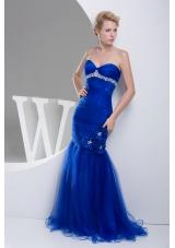 Mermaid Sweetheart Hand Made Flowers Long Prom Dress