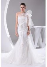 One Shoulder Mermaid Sash Brush Train Wedding Dress