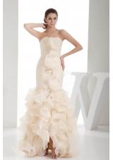Ruching Ruffles Strapless Champagne Mermaid Prom Dress