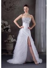 Ruffles A-line Strapless High slit Sequins Prom dress