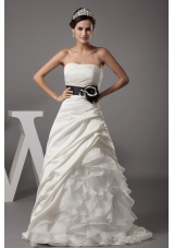 Strapless A-line Ruffles Pick-ups Sash Wedding Dress
