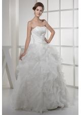 Strapless Ruffles Long A-line / Princess Wedding Dress