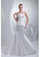 Strapless Satin Mermaid Ruching Appliques Wedding Dress