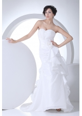 Sweetheart Mermaid Hand Made Flowers Brush Train Wedding Dress