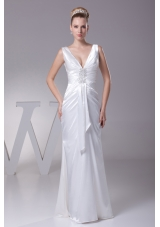 V-neck Beading Long Wedding Dress With Column