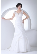 V-neck Column Appliques Ruching Brush Train Wedding Dress