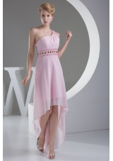 Wonderful Beaded Decorate Shoulder High Low Prom Dress