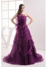 A-line Purple Strapless Ruffles Organza Prom Dress