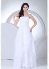 A-line Strapless Ruffles Organza Wedding Dress