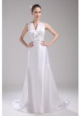 A-line V-neck Hand Made Flower Satin Wedding Dress
