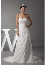 Appliques Sweetheart Column Wedding Dress With Lace Up Back