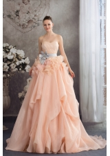 Baby Pink A-line Strapless Ruffles Sash Court Train Wedding Dress