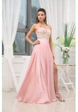 Baby Pink Beading High Slit Sweetheart Prom Dress