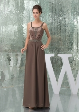 Beaded Decorate Shoulder Brown Straps Long Mother of the Bride Dress