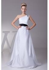 Beading A-Line Brush Train One Shoulder Wedding Dress