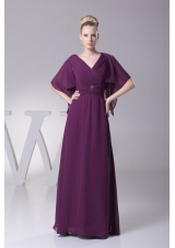 Beading and Ruching V-neck Long Mother of the Bride Dress