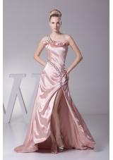 Beading One Shoulder High Slit Prom Dress